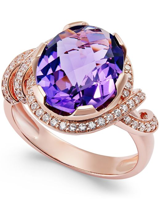 Macy's   Metallic Amethyst (4-1/4 Ct. T.w.) And White Topaz (1/3 Ct. T.w.) Ring In 14k Rose Gold-plated Sterling Silver   Lyst