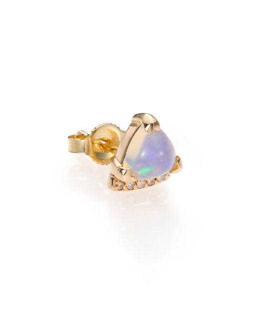 Phyne By Paige Novick | Purple Marta Moonstone, Diamond & 14k Yellow Gold Trillion Single Stud Earring | Lyst