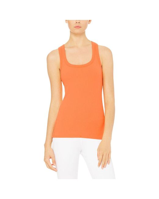 Alo Yoga | Orange Rib Support Tank Top | Lyst