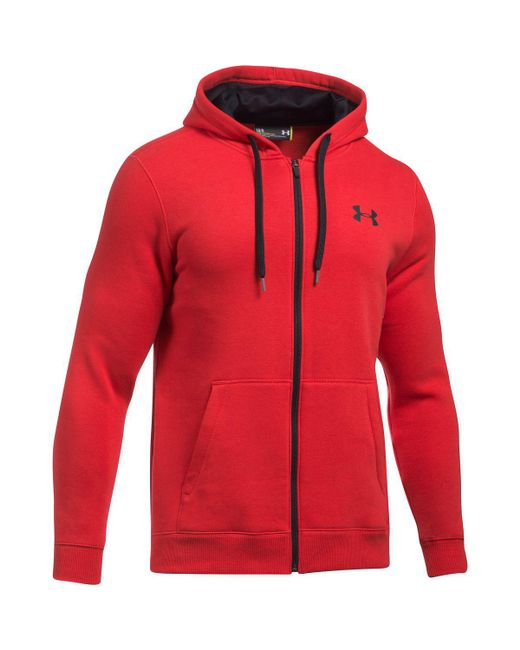 Under Armour - Red Rival Cotton Full-zip Hoodie for Men - Lyst