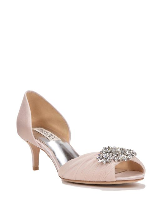Badgley Mischka | Natural Caitlin D'orsay Decorated Evening Shoe | Lyst