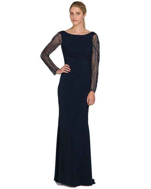 Badgley Mischka | Blue Beaded Sleeve Odessa Evening Gown | Lyst