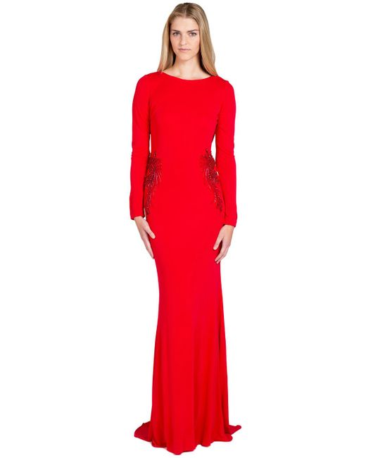 Badgley Mischka | Red Jersey Drape Back Evening Gown | Lyst