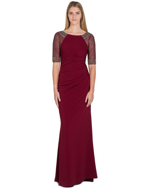Badgley Mischka | Purple Raglan Beaded Sleeve Evening Gown | Lyst