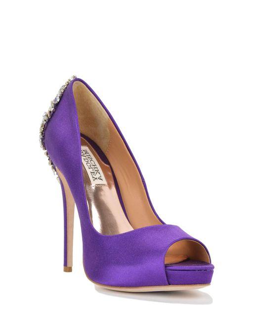 Badgley Mischka | Purple Kiara Embellished Satin Pumps | Lyst