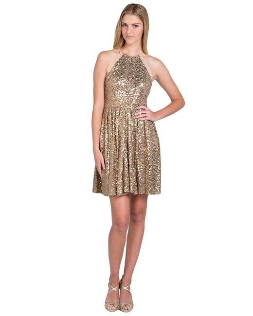 Badgley Mischka | Metallic Halter Sequin Cocktail Dress | Lyst