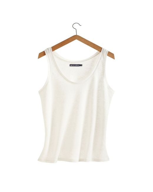 Petit Bateau | White Women's Linen Jersey Tank Top | Lyst