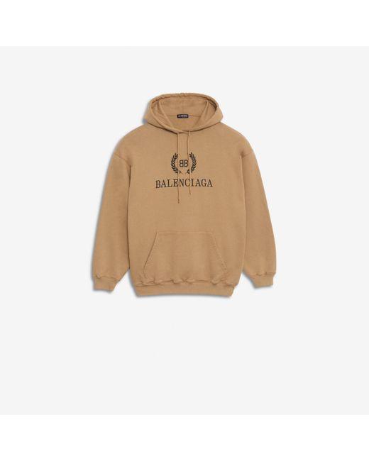 cbe4d4cc2 Balenciaga - Natural Camel Logo Hooded Cotton Sweatshirt for Men - Lyst ...