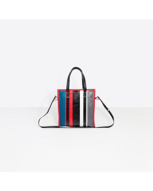 67e7e26a0b0 ... Balenciaga - Red Bazar Small Striped Leather Shopper Tote Bag - Lyst ...
