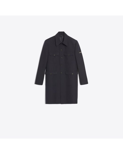 Balenciaga - Blue Military Single-breasted Wool Coat for Men - Lyst