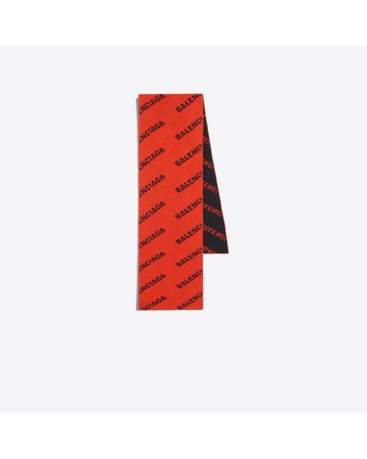 Balenciaga - Red Jacquard Logo Scarf - Lyst