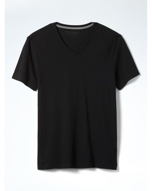 Banana Republic | Black Short Sleeve Soft-wash Vee for Men | Lyst