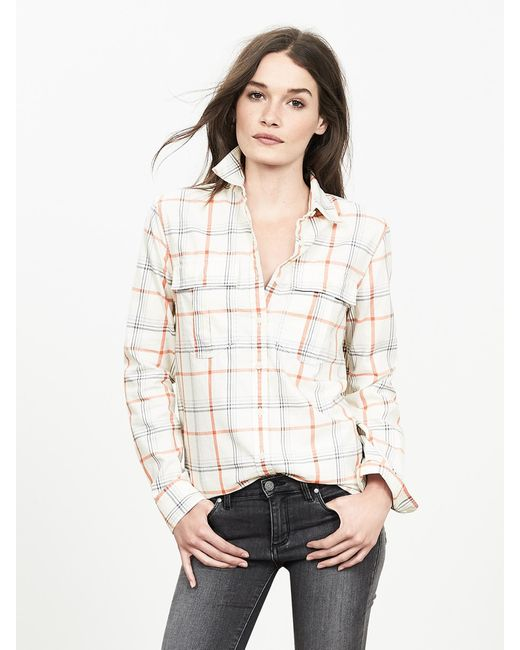 Banana Republic | Natural Soft-wash Open Plaid Shirt | Lyst