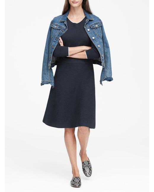 Banana Republic - Blue Petite Button-shoulder Sweater Dress - Lyst