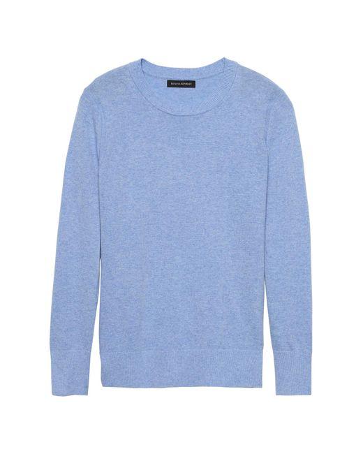 Banana Republic - Blue Italian Merino-blend Crew-neck Sweater - Lyst