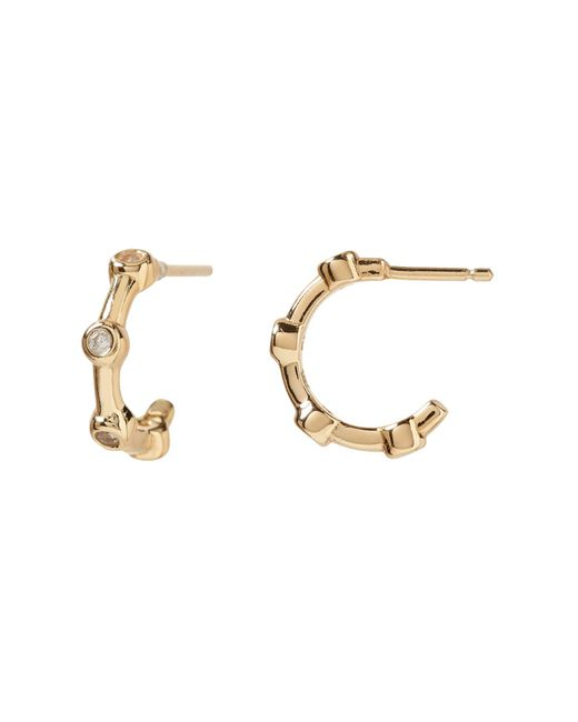 Banana Republic - Metallic Everyday Luxuries 14k Gold-plated Cz Mini Hoop Earring - Lyst