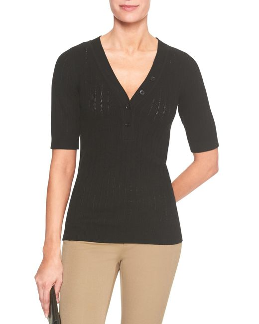 Banana Republic Factory - Black Elbow Sleeve Henley Sweater - Lyst