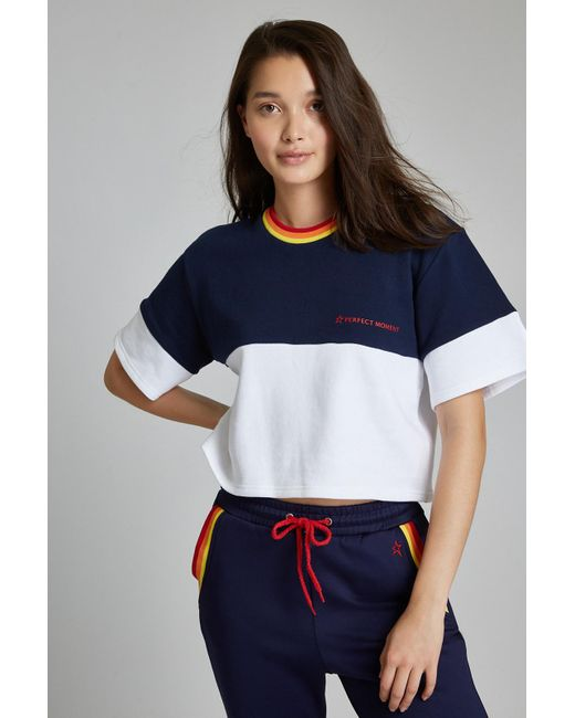 Perfect Moment - Blue Blocked Cropped Tee - Lyst