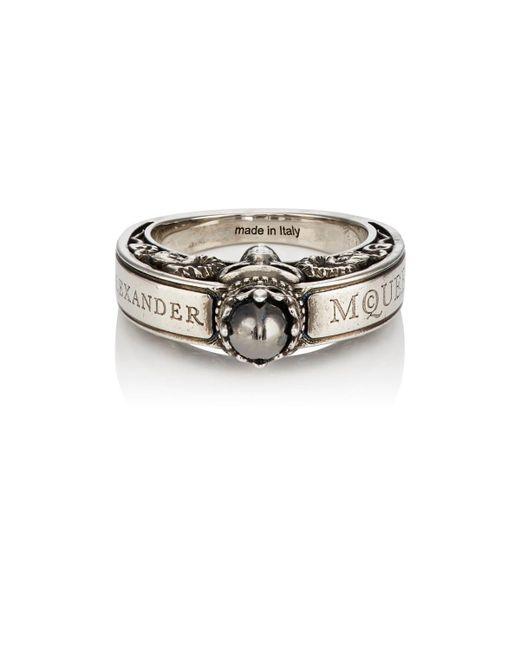 Alexander McQueen - Metallic Engraved Skull Ring for Men - Lyst