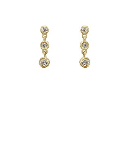 Tate - Metallic Round White Diamond Strand Earrings - Lyst