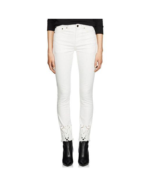 Saint Laurent White Eyelet Denim Skinny Jeans