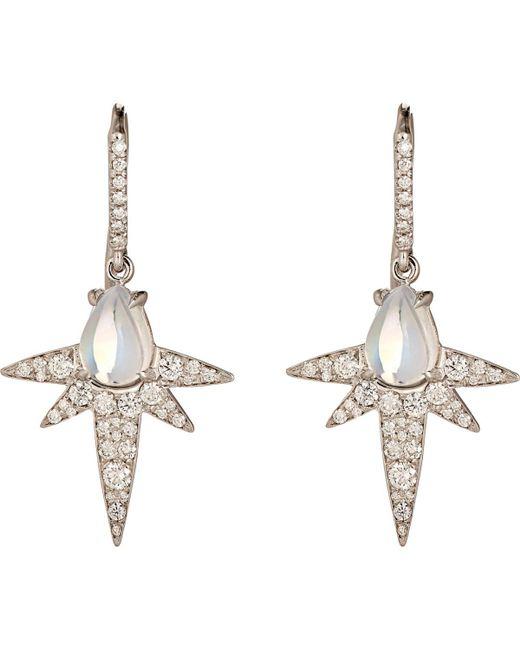 Finn - White Moonstone Spike Earrings - Lyst