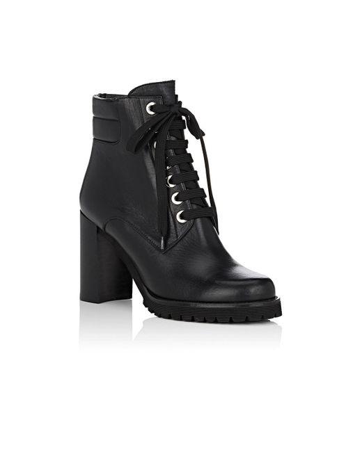 20292e25d27 Women's Black Lug-sole Leather Ankle Boots