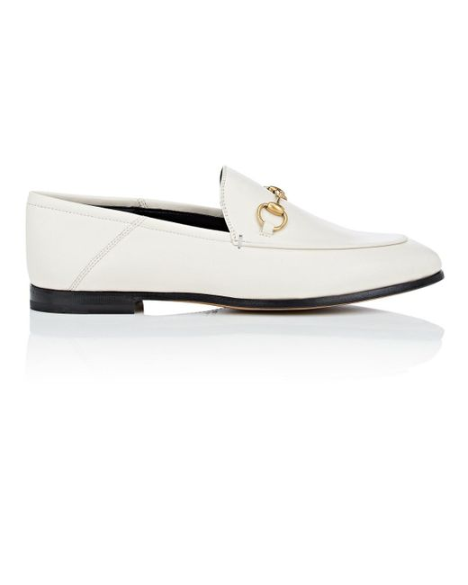 53a29894ee9 ... Gucci - White Brixton Leather Loafers - Lyst ...