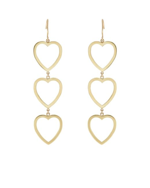 Jennifer Meyer - Metallic Open Heart Triple-drop Earrings - Lyst