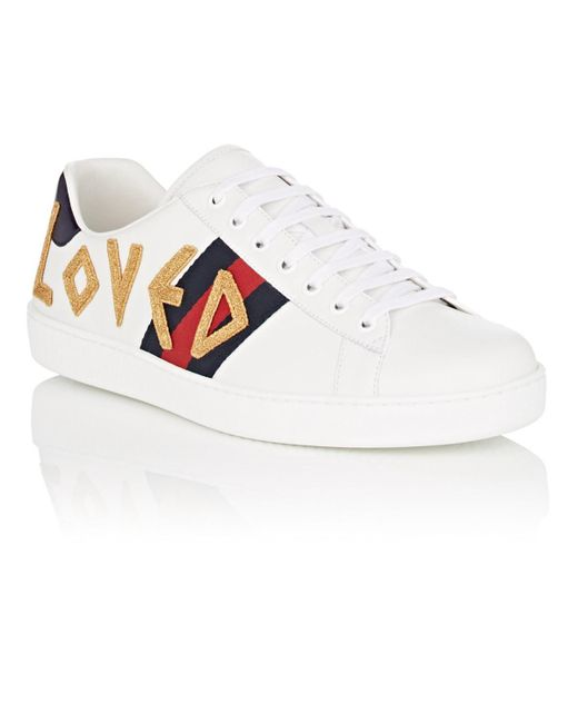 5b24459240e ... Gucci - White Ace Embroidered Leather Sneakers for Men - Lyst ...