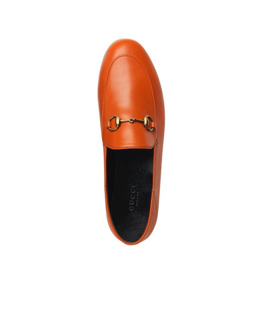 255b5cce1 ... Gucci - Orange Brixton Leather Loafers - Lyst ...