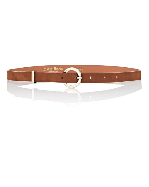 Maison Boinet - Brown Nubuck Skinny Belt - Lyst