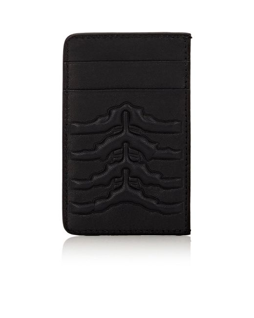 Alexander McQueen - Black Rib-cage Embossed Card Case for Men - Lyst