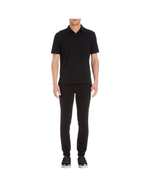 James Perse - Black Jersey Polo Shirt for Men - Lyst