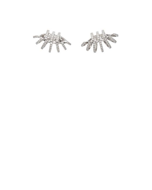 Dauphin | Metallic White Diamond & White Gold Cage Ear Cuffs | Lyst