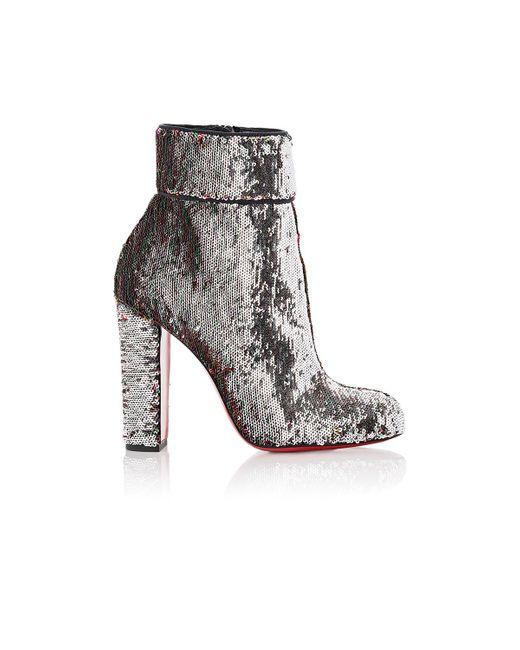 Christian Louboutin | Gray Moulamax Pailette Ankle Boots | Lyst