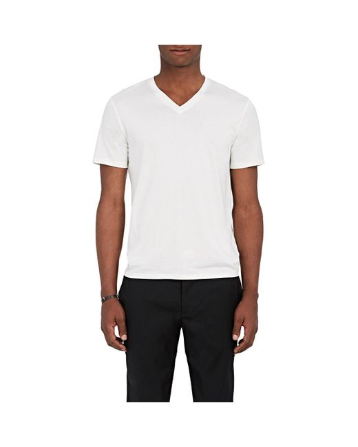 Theory - White Claey Plaito Silk-cotton T-shirt for Men - Lyst