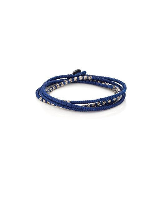 M. Cohen - Blue Beads On Knotted Cord Wrap Bracelet - Lyst