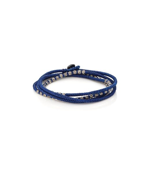 M. Cohen - Blue Beads On Knotted Cord Wrap Bracelet for Men - Lyst
