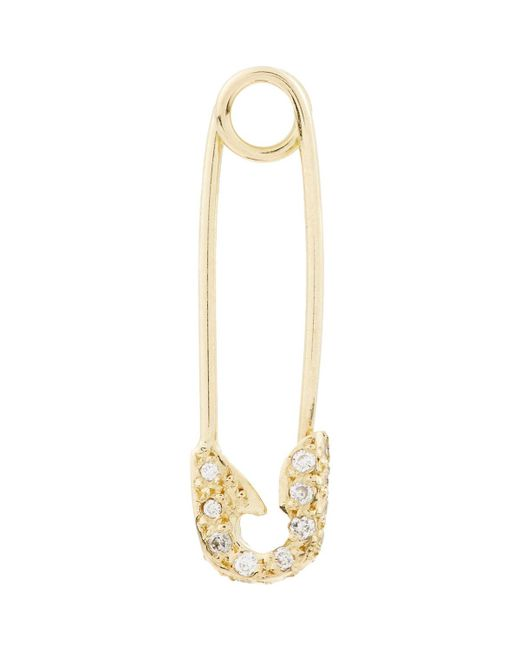 Ileana Makri | Metallic Diamond & Gold Safety Pin Earring | Lyst