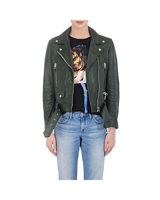 Acne - Green mock Grained Leather Moto Jacket - Lyst