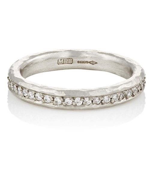 Malcolm Betts - White Diamond & Hammered Platinum Eternity Ring - Lyst