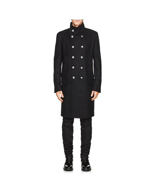 0a2c43691cb33 ... Balmain - Black Wool-cashmere Double-breasted Military Coat for Men -  Lyst ...