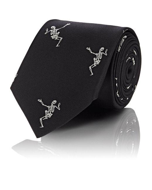 Alexander McQueen - Black Embroidered Silk Tie for Men - Lyst