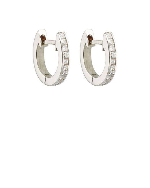 Ileana Makri | Metallic White Diamond Huggie Hoops | Lyst