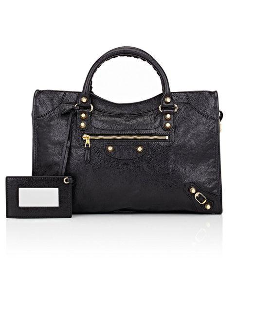 Balenciaga | Black Arena Leather Giant City Bag | Lyst