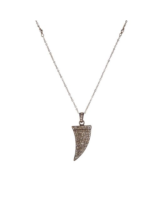 Feathered Soul | Metallic Diamond & Oxidized Silver Claw Pendant Necklace | Lyst
