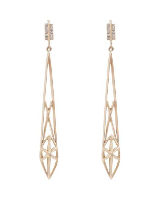 Monique Péan   Metallic Diamond & Gold Geometric Cage Drop Earrings   Lyst