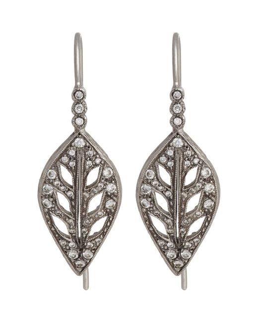 Cathy Waterman | Metallic Leaf Drop Earrings | Lyst