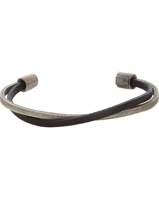 Zadeh | Metallic Leather & Silver Cuff for Men | Lyst